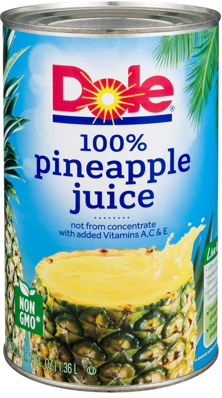 Dole Pineapple Juice, 46 oz Can (Pack of 8)