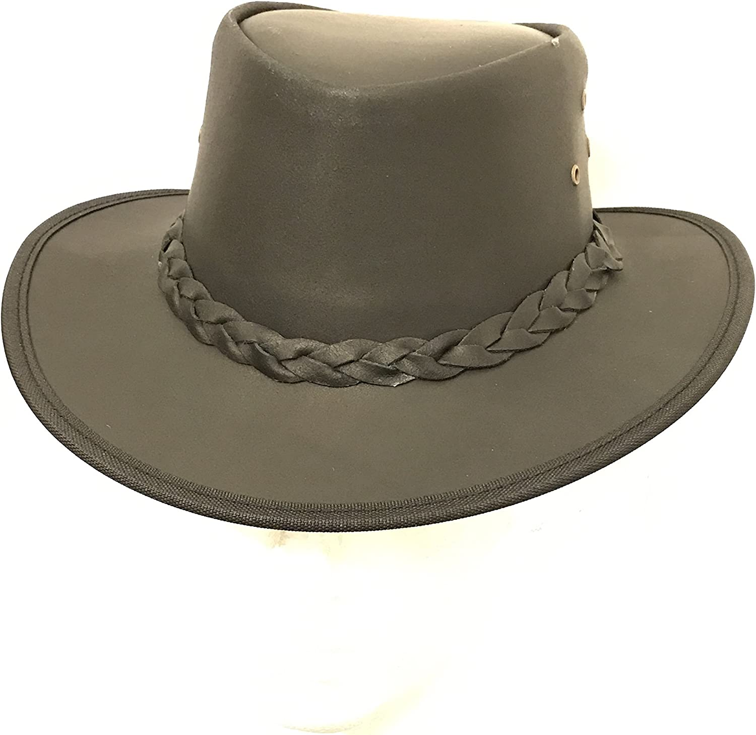 Kids Childrens Brown Leather Bush Hat Cowboy Hat One Size 55cm Boy//Girl