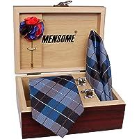 MENSOME Men's Microfibre Blue Check Tie Set Necktie Pocket Square Lapel Pin Cufflinks Gift Set