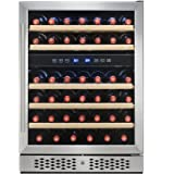 FIREBIRD 46 Bottles Dual Zone Adjustable Touch Control Freestanding Electric Wine Cooler Chiller w/ Built-in Compressor
