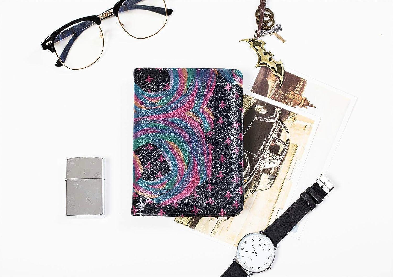 Cute Passport Cover For Women Fashion Retro Beautiful Art Line Passport Holder Hard Case Multi Purpose Print Leather Passport Cover Travel Wallets For Unisex 5.51x4.37 Inch
