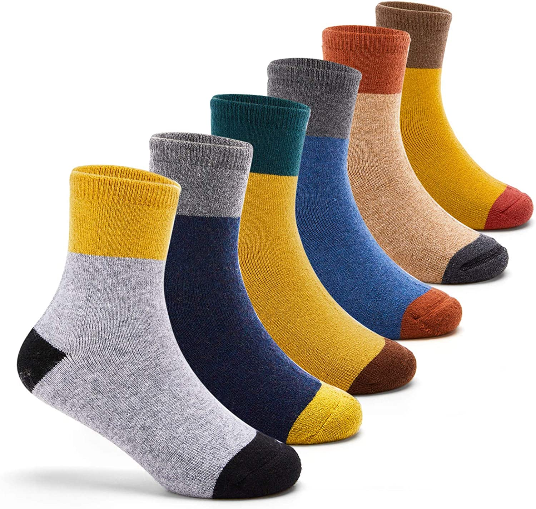 Boys Wool Socks Kids Crew Seamless Winter Warm Socks 6 Pack