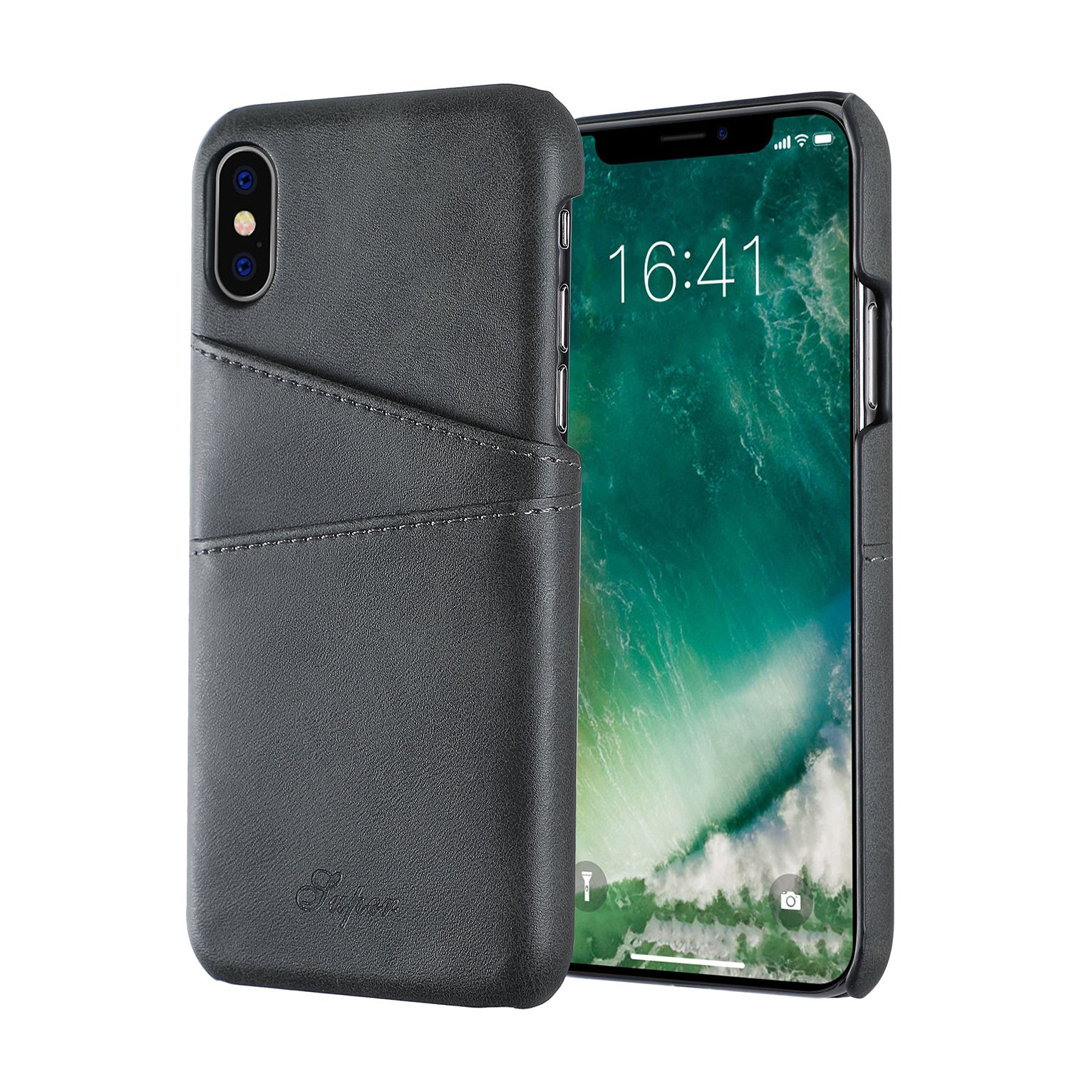 iPhone X Case,iPhone 10 Case Slim Fit Soft PU Protective Leather iPhone X Card Slots Case Cover Shock Absorbing Case Card Holder ID Slot Supports Wireless Charging Fit for Apple iPhone X/10-Black