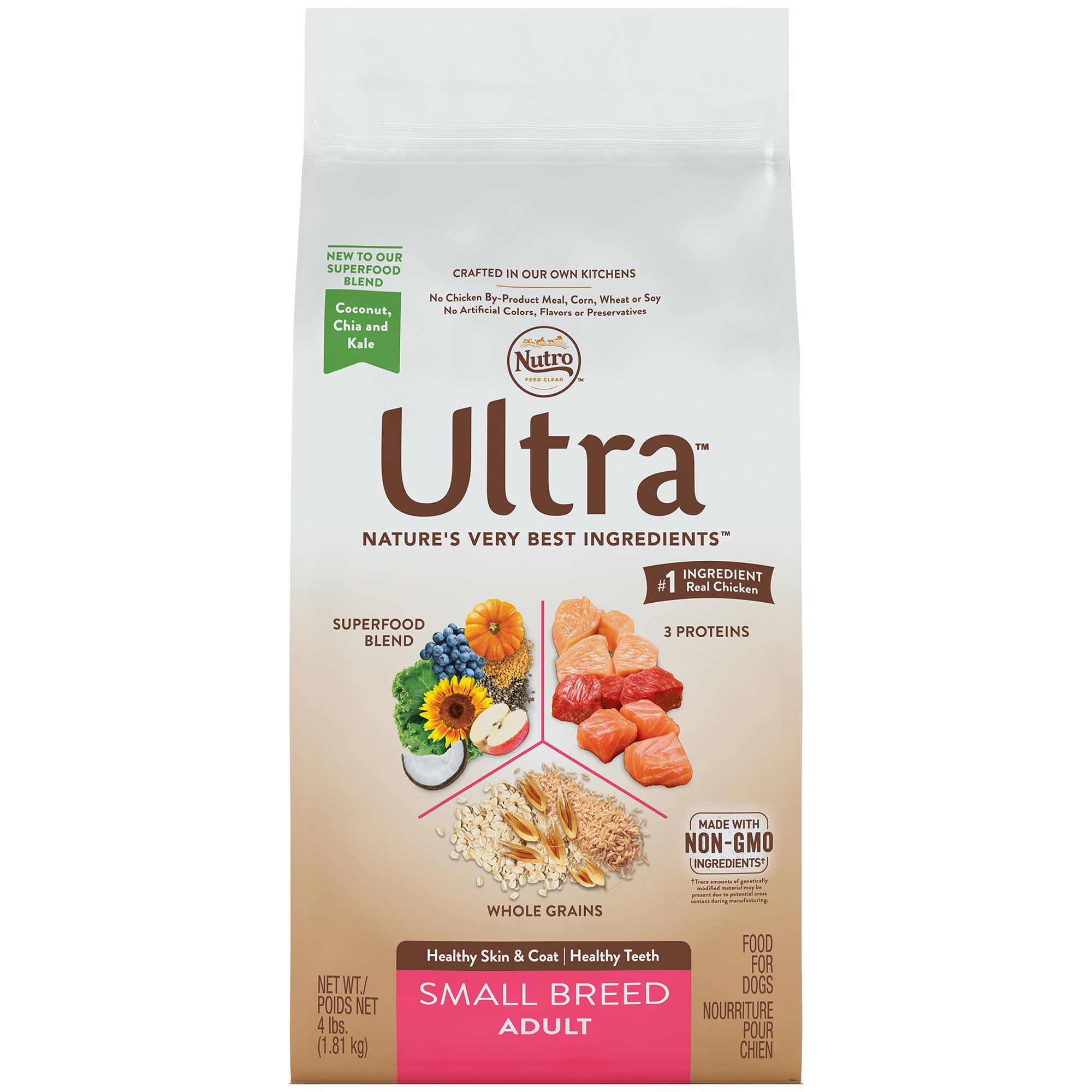 NUTRO ULTRA Adult Dry Dog Food Small Breed Standard Packaging 4 lbs.