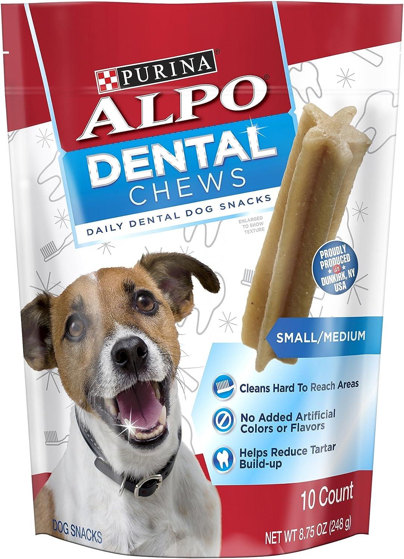 Purina Alpo Dental Chews 10 Count (Pack of 3) Small/Medium Daily Dental Dog Snacks