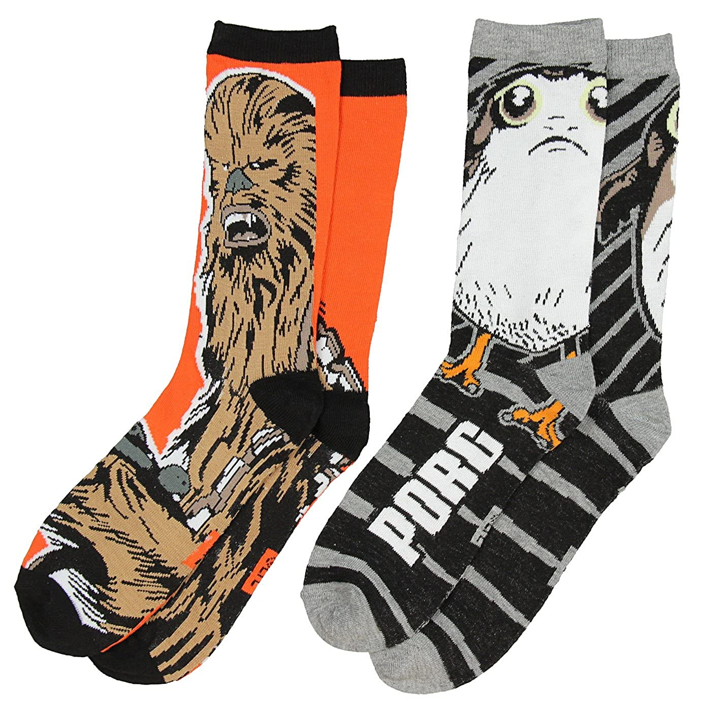 Hyp Star Wars Porg and Chewbacca Men's Crew Socks 2 Pair Pack Shoe Size 6-12 IN1203