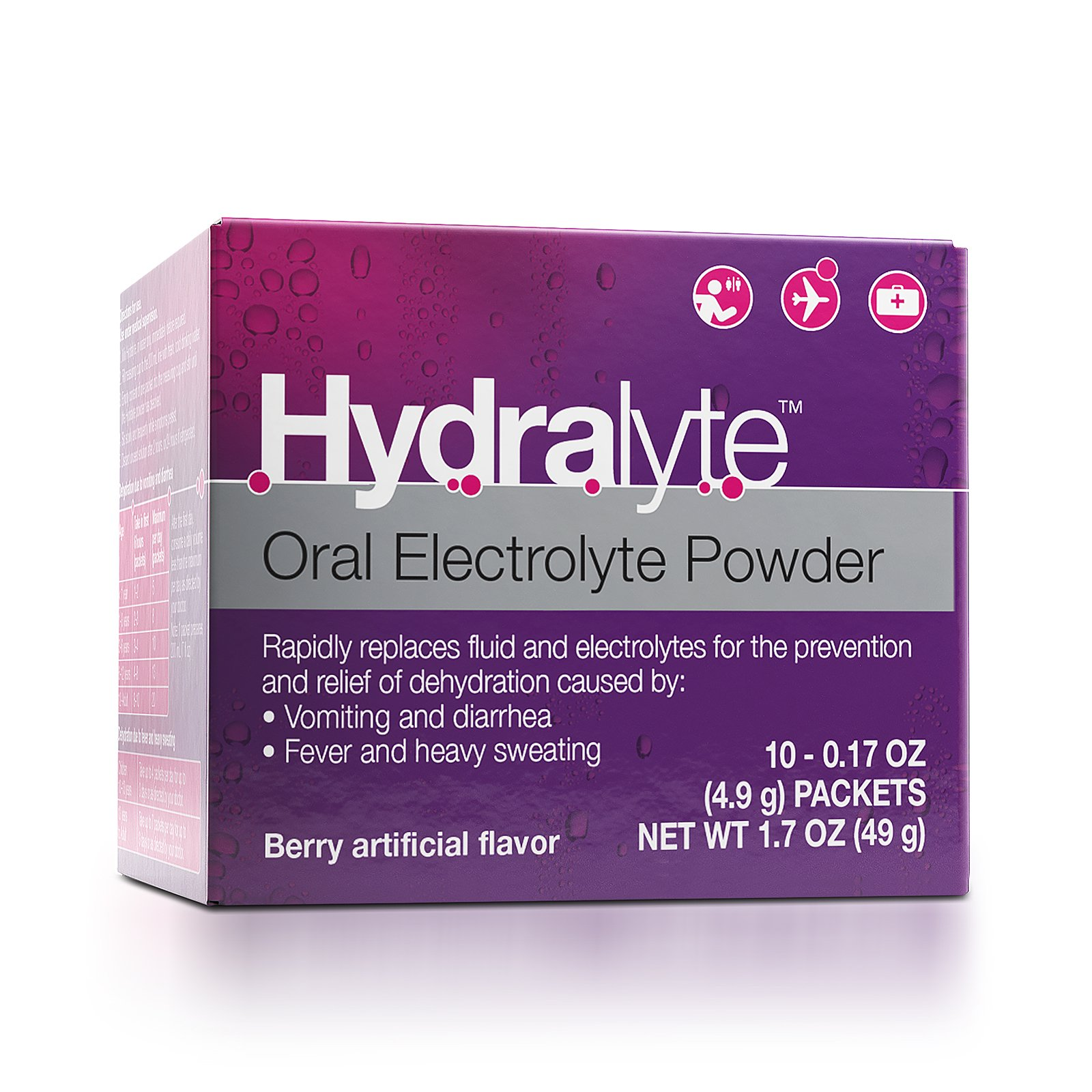 Hydralyte - Oral Electrolyte Powder, On-the-go Clinical Hydration Formula for Hydralyte Drink (Berry, 10 Count)