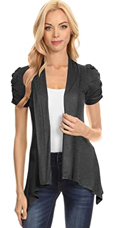 Simlu Womens Open Front Cardigan Ruched Short Sleeve Asymmetric ...
