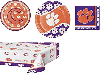 Clemson University Party Bundle: 8 Dinner Plates, 8 Lunch Plates, 20 Lunch  Napkins