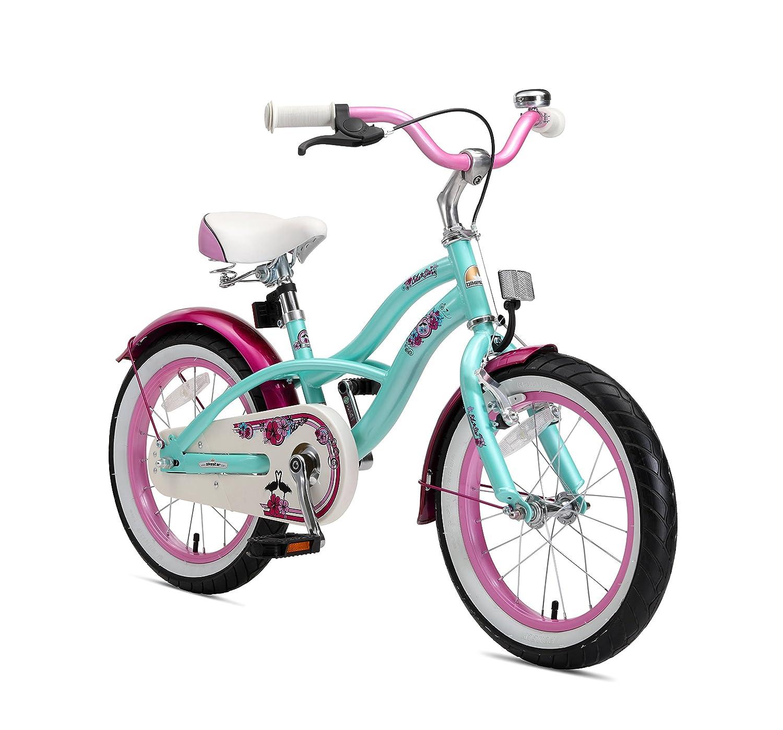 BIKESTAR® オリジナルプレミアム安全子供用スポーツバイク サイドスタンドとアクセサリー付き 4歳のお子さま向き 女児用16インチクルーザーエディション グラマーミントとピンク B071NXG6ZC
