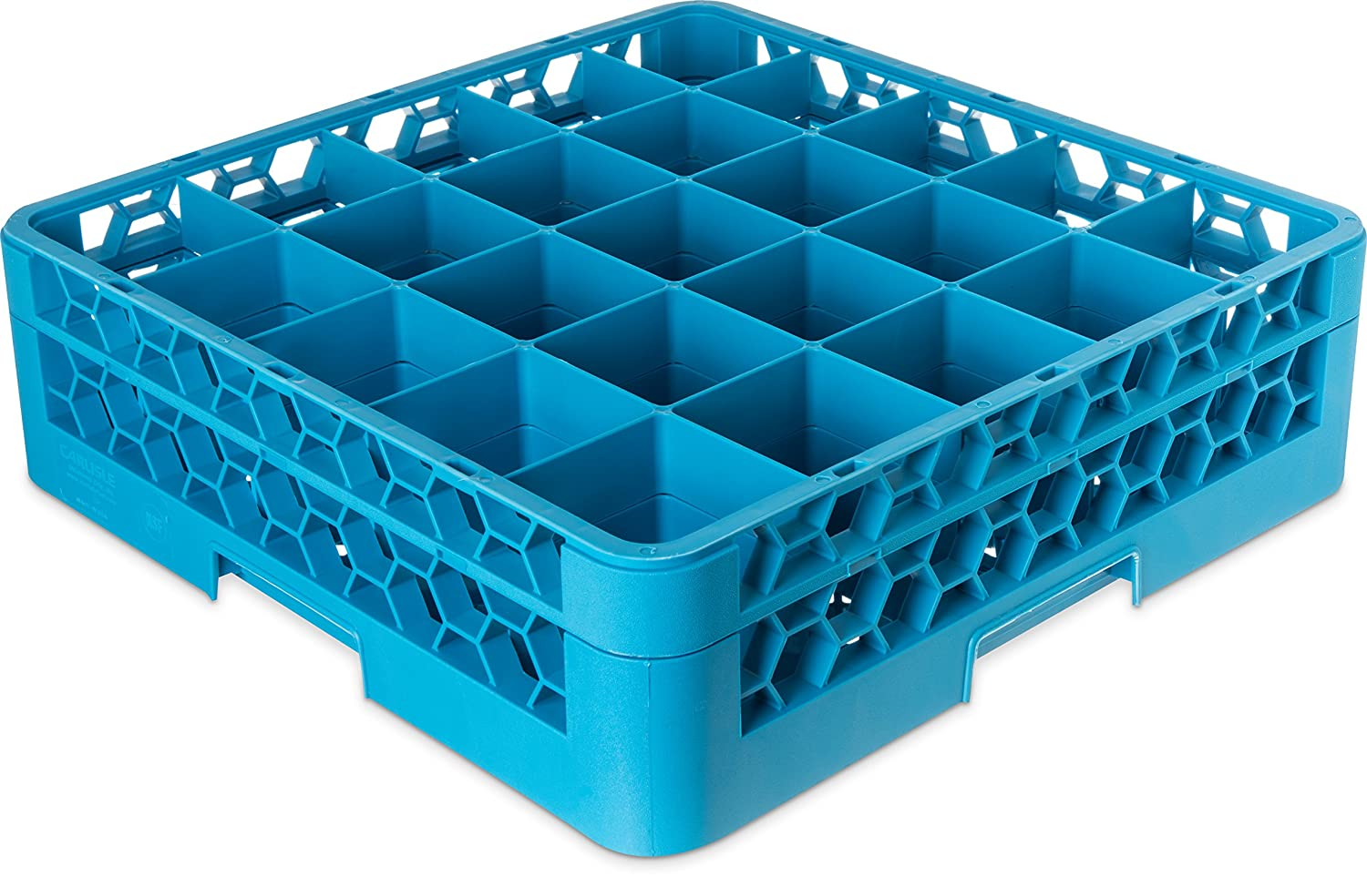 "Carlisle RG25-114 OptiClean Polypropylene 25-Compartment Glass Rack with 1 Extender, 5.56"" x 19.75"" x 19.75"", Blue (Case of 4)"