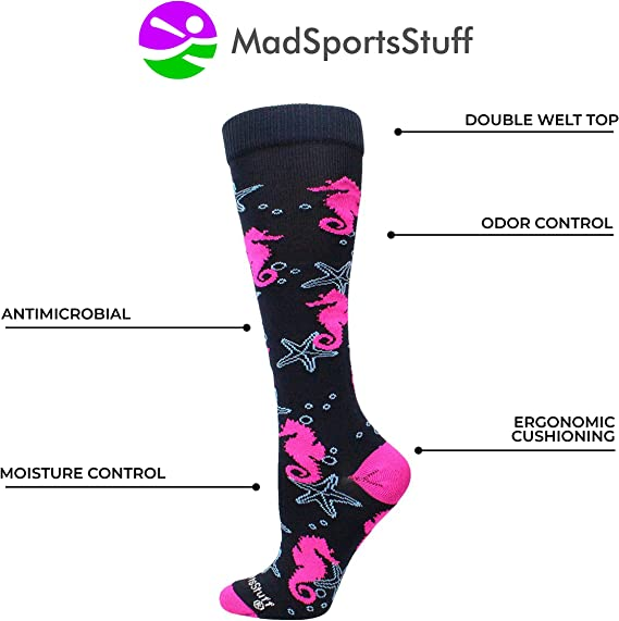 MadSportsStuff Seahorse and Starfish Athletic Over The Calf Socks