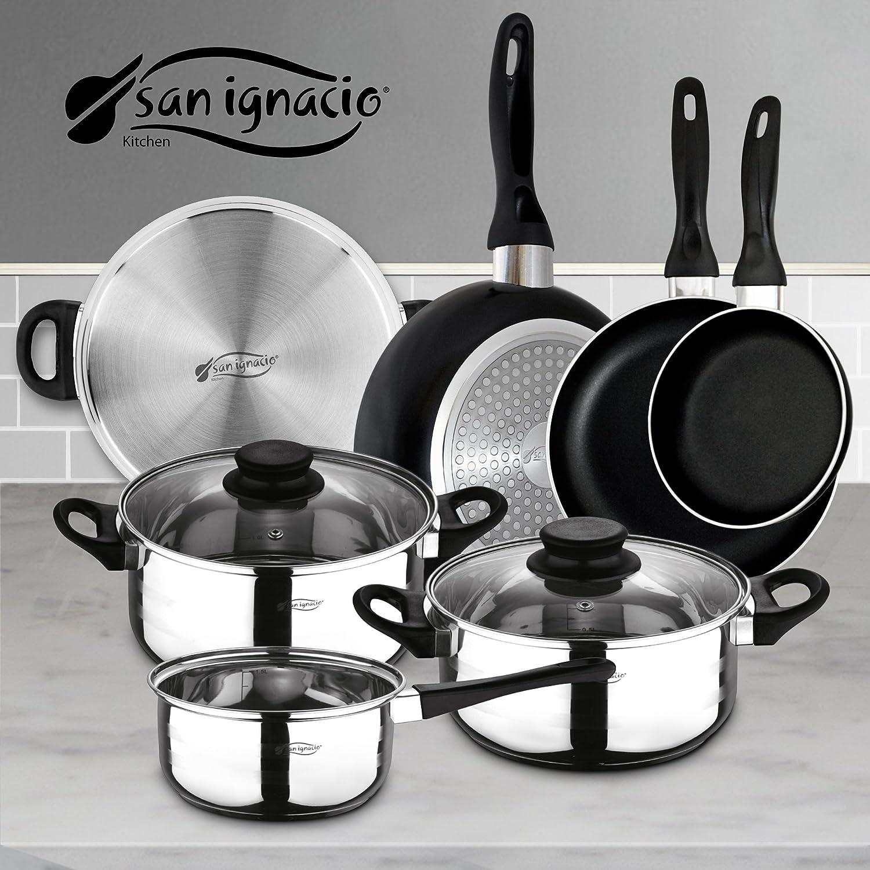 San Ignacio PK329 Set Juego de Tres sartenes + Batería de Cocina 5 Piezas, Cromado: Amazon.es: Hogar