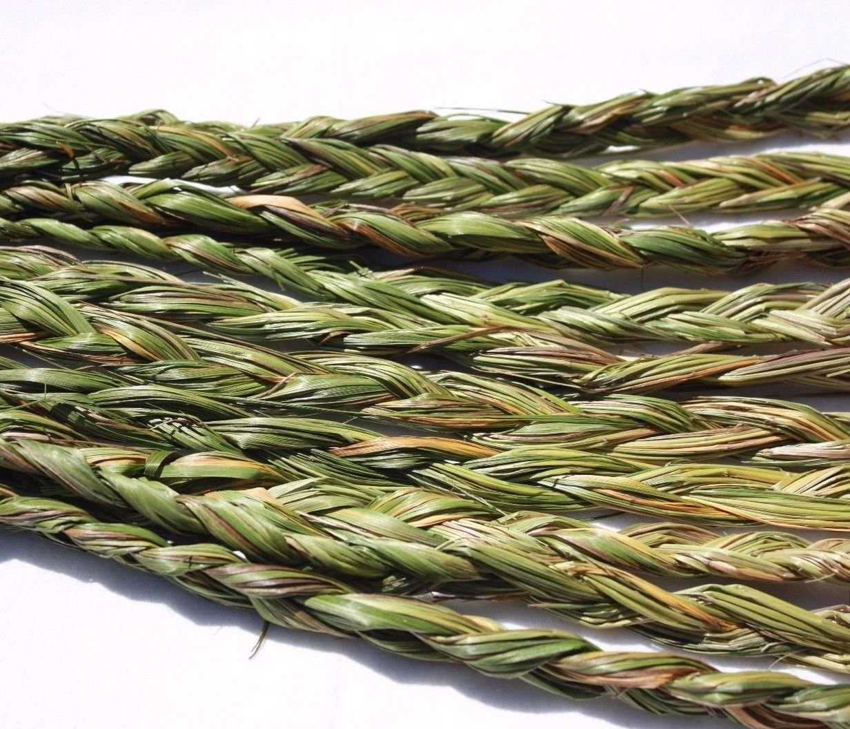 AURA VARIETY 12 PIECES (BRAIDS) BRAIDED SWEETGRASS FOR SMUDGING WICCA PAGAN SPIRITUAL 20 to 24'' LONG - HEALING, CLEANSING