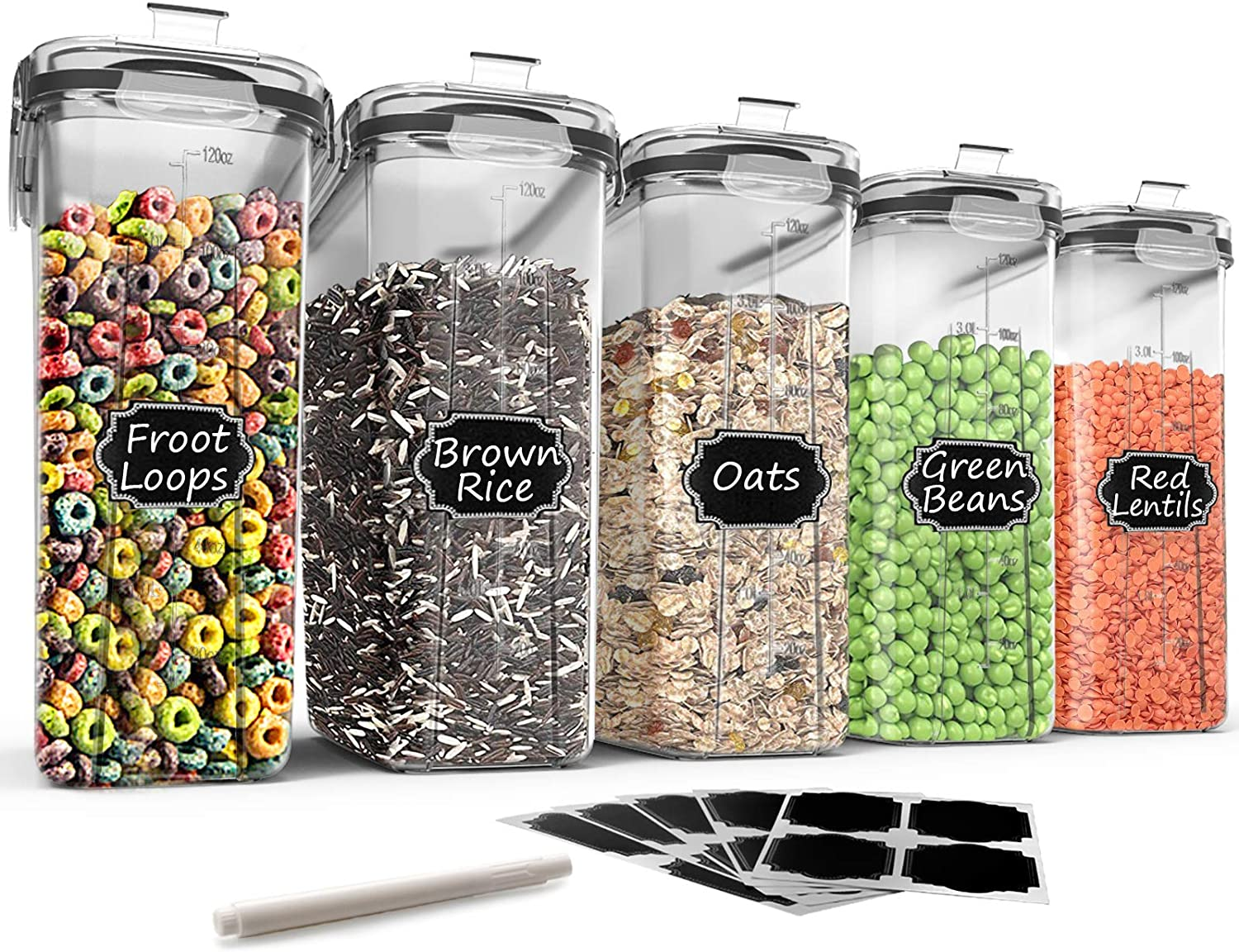Large Cereal & Dry Food Storage Containers - Wildone 5 Pieces Airtight Cereal Storage Containers for Sugar, Flour, Snack, Baking Supplies, Leak-proof with Black Locking Lids (4L /135.3oz)