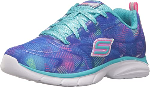 Youth Girl/'s Skechers Spirit Sprintz Color Wave Sneakers Neon Pink//Multi