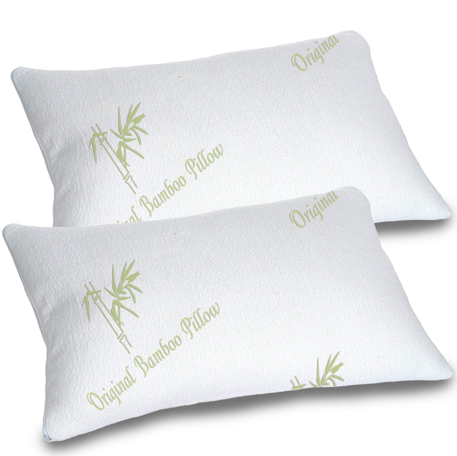 Bamboo Pillows for Sleeping Set of 2 - Standard Queen Size - Adjustable Loft Cool Shredded Memory Foam Bed Pillow - Cooling Hypoallergenic Luxury Cover - Comfort for Back Side and Stomach Sleeper (2)