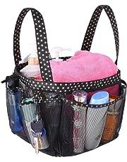 Mesh Shower Caddy Tote, Large College Dorm Bathroom Caddy Organizer Key Hook 2 Oxford Handles, Quick Hold, 8 Basket Pockets Camp Gym