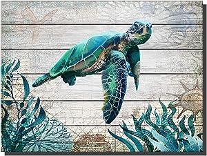 "TanjunArt Sea Turtle Bathroom Decor Ocean Canvas Pictures Beach Theme Wall Art Coastal Artwork for Kid Girls Room Living Room Bedroom Home Office Sea Life Wall Decorations(16""x12""Framed)"