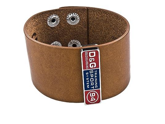 D&G Dolce & Gabbana Light Brown Leather Sport Wristband, DJ0455 (By ...