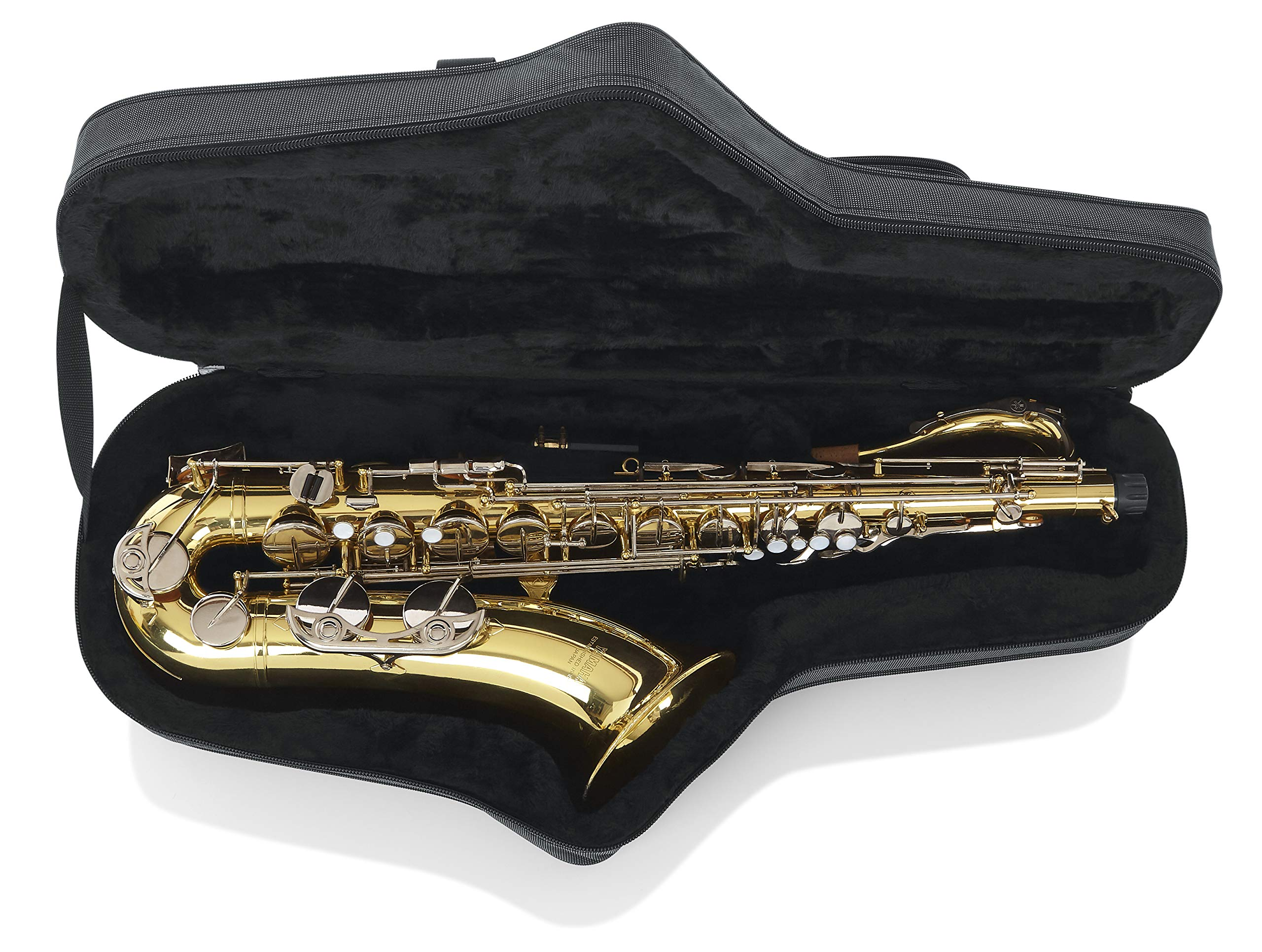 Gator Cases Lightweight Polyfoam Tenor Saxophone Case with Removable Strap and Rubber Interlocking Carry Handle; (GL-TENORSAX-A)