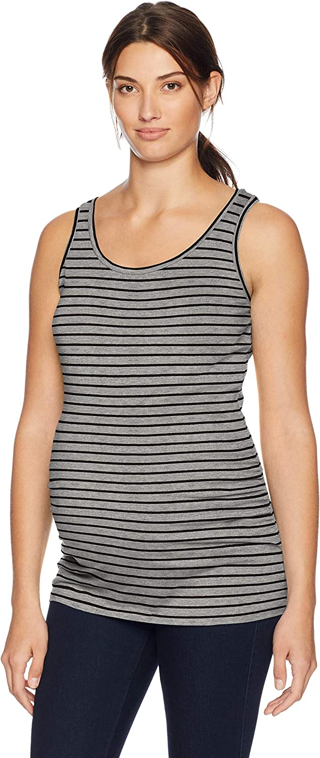 Motherhood Maternity Women's Maternity Sleeveless Scoop Neck Side Ruched Tank Top