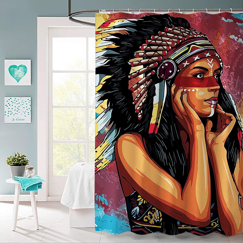 BLOOM SOMEWHERE Native American Indian Girl Shower Curtain Set Creative Home Ideas Decorative Curtain Machine Washable Modern Bathroom Accessories with Hooks Bath Curtain 66X72 inch