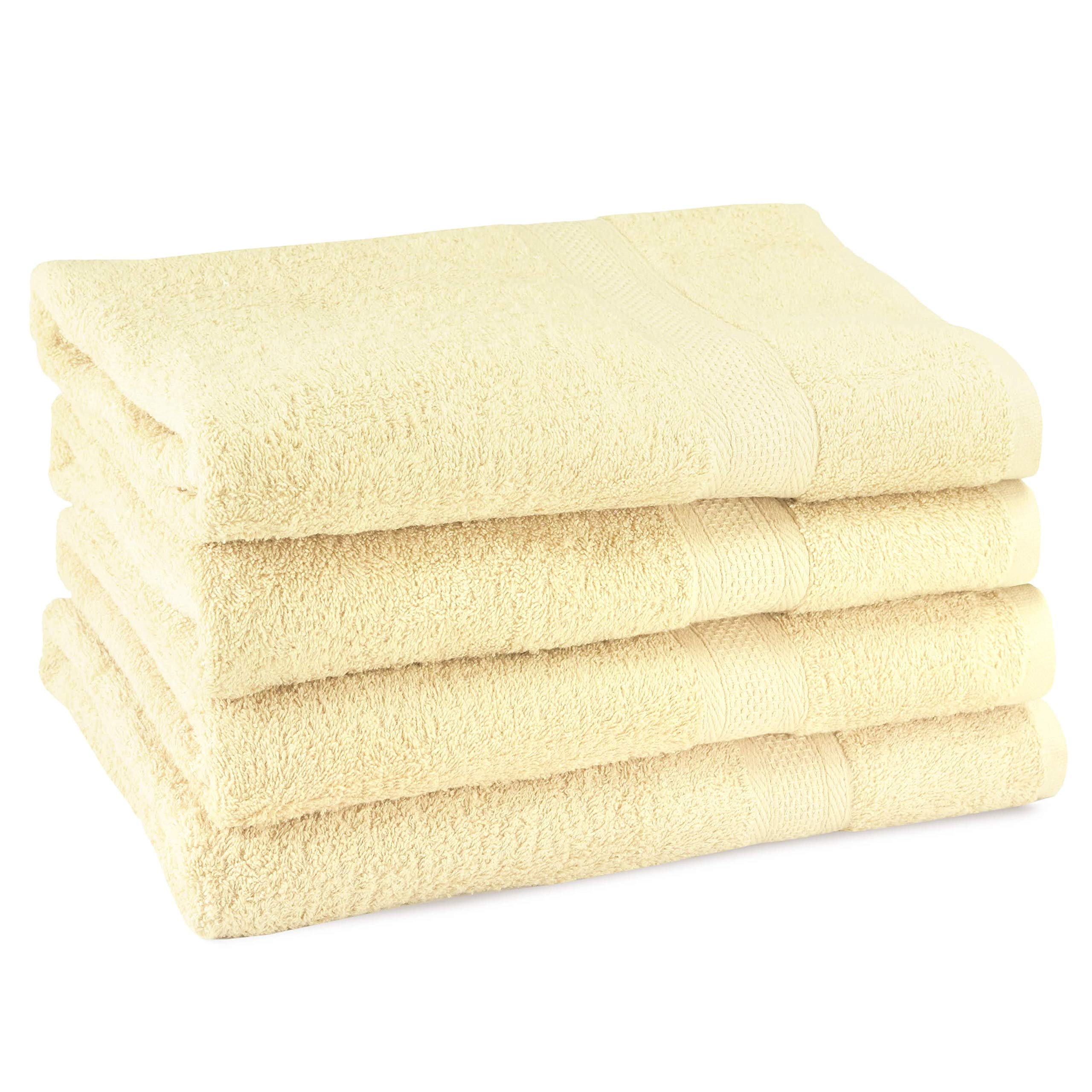 CrystalTowels Premium Bath Towels – 4 Pack - 27'' x 54''- 600 GSM - 100% Virgin Ringspun Cotton - Soft & Absorbent for Home Hotel Spa or Gym (Ivory)