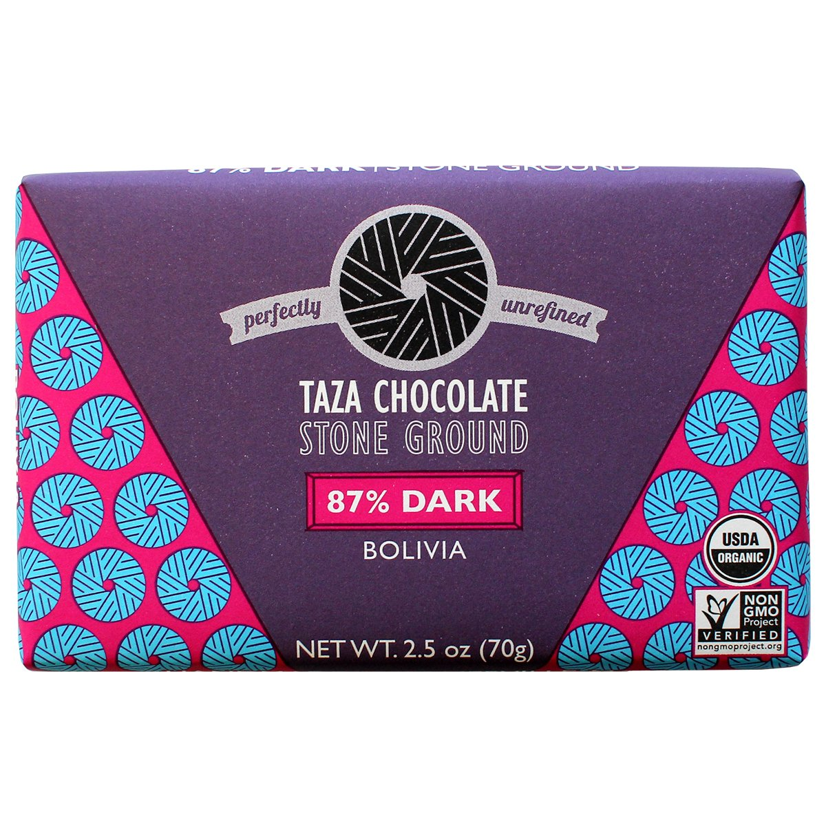 CDM product Taza Chocolate Organic Origin Bar 87% Dark Stone Ground, Bolivia, 3 Ounce (Pack of 10), Vegan big image