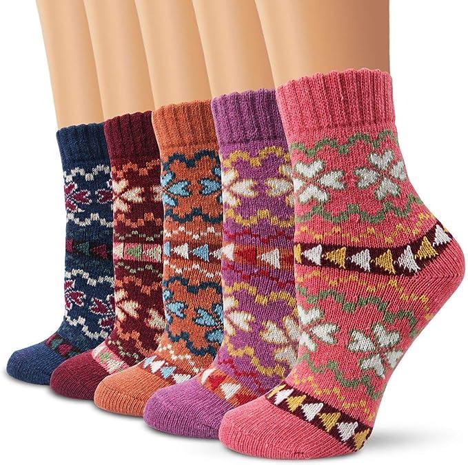 5 Paar Thermo Socken Damen Socken Baumwolle Mädchen Warme Wintersocken Dick DE