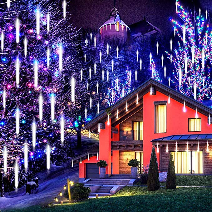 JLtech Meteor Shower Lights,Falling Rain Lights Waterproof,Icicle Snow String Lights with 11.8 inch 8 Tubes 224 LEDs, Christmas Lights for Garden Decoration, Holiday Party Wedding(Warm-White)…
