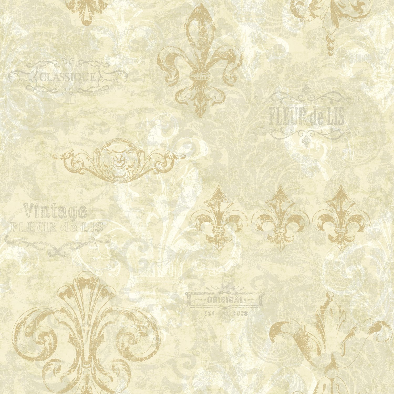 York Wallcoverings KH7027 Kitchen & Bath Fleur Wallpaper, Beige/White/Antique Silver/Old Gold/Cloudy Grey