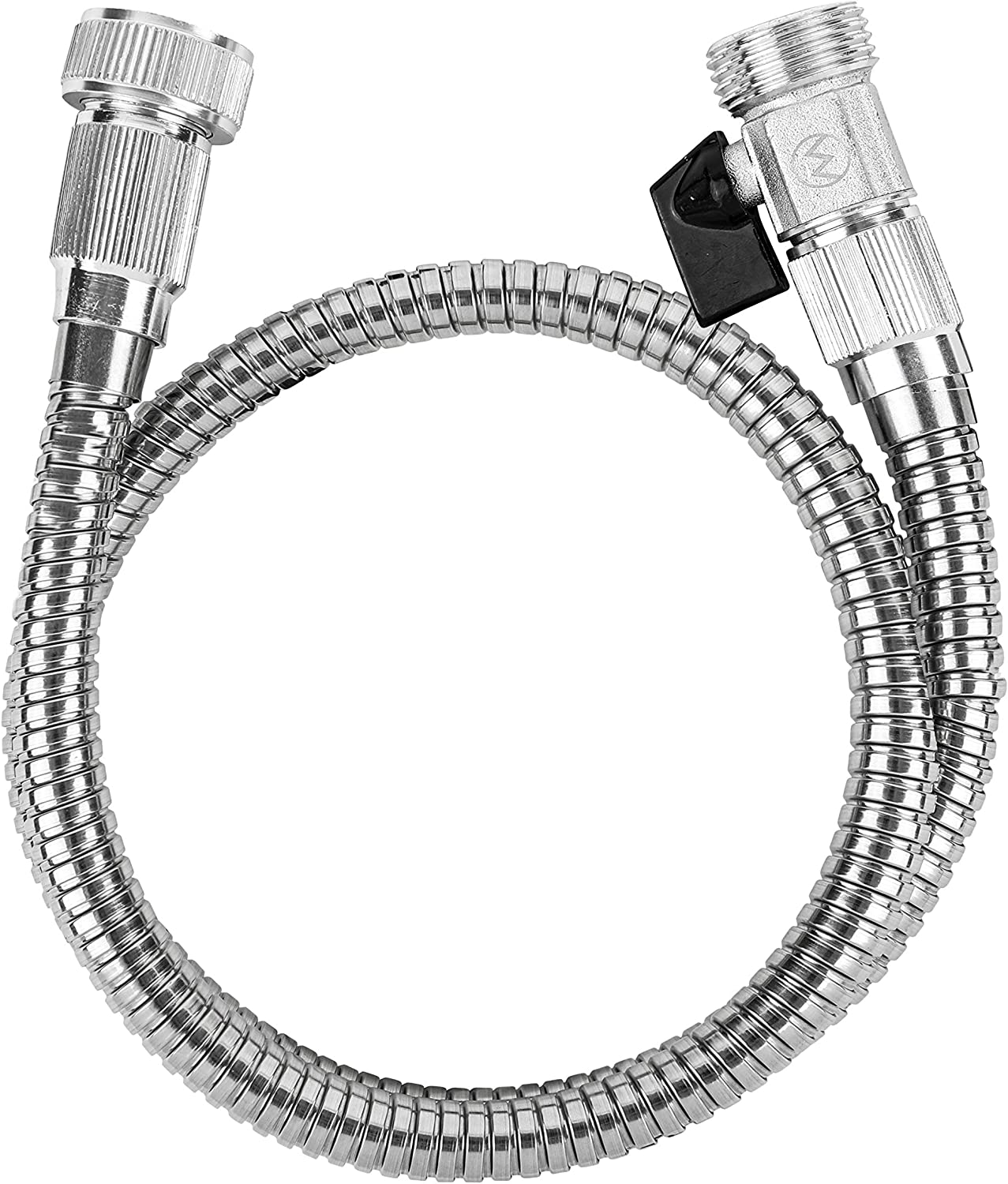 Morvat Stainless Steel Garden Hose 3 ft, Hose Reel Leader Hose, Short Connector Hose, On/Off Valve, Flexible Coil Hose, 3 FT