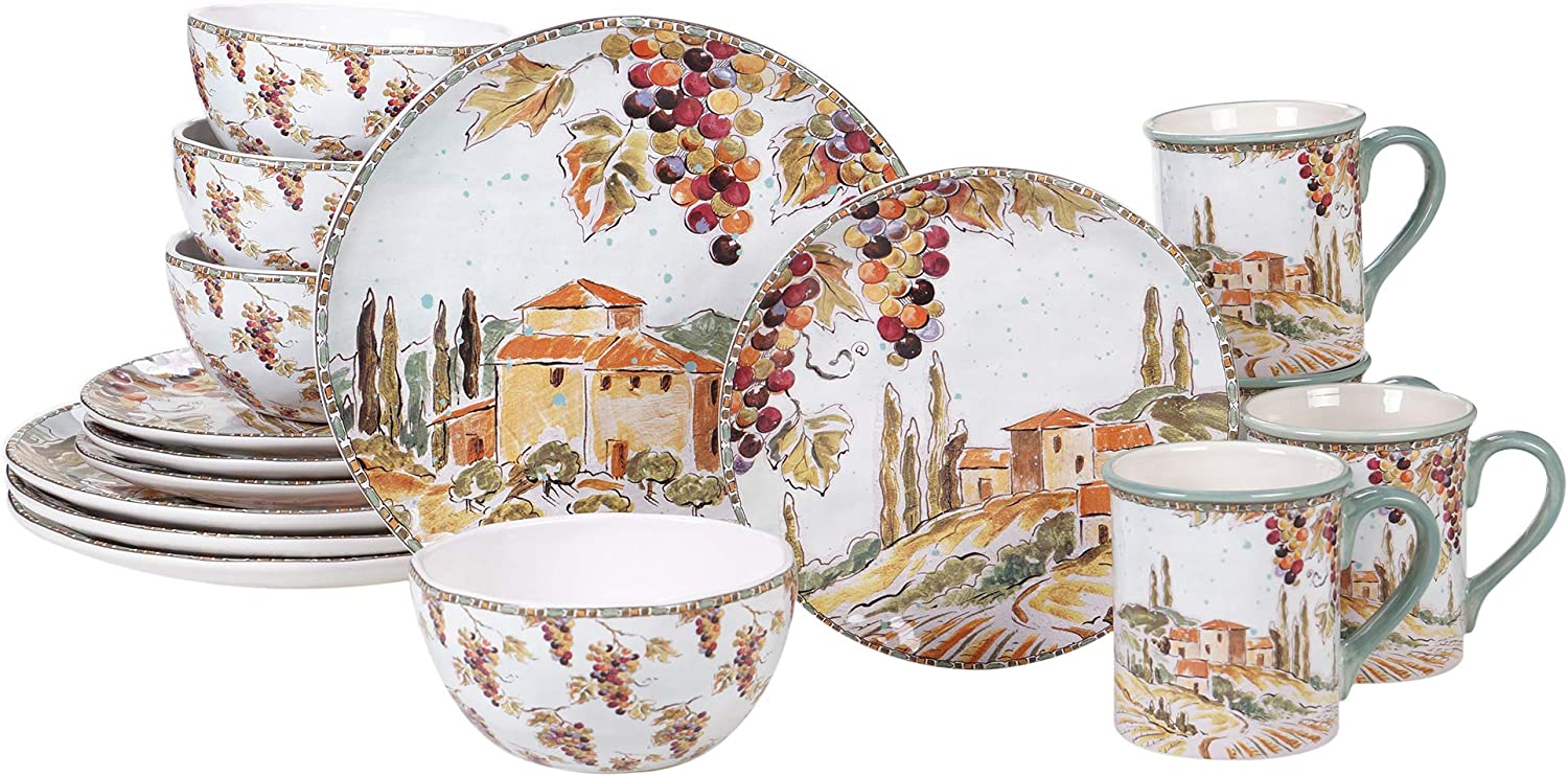 Certified International Tuscan Breeze 16 piece Dinnerware Set, Service for 4, Multicolored