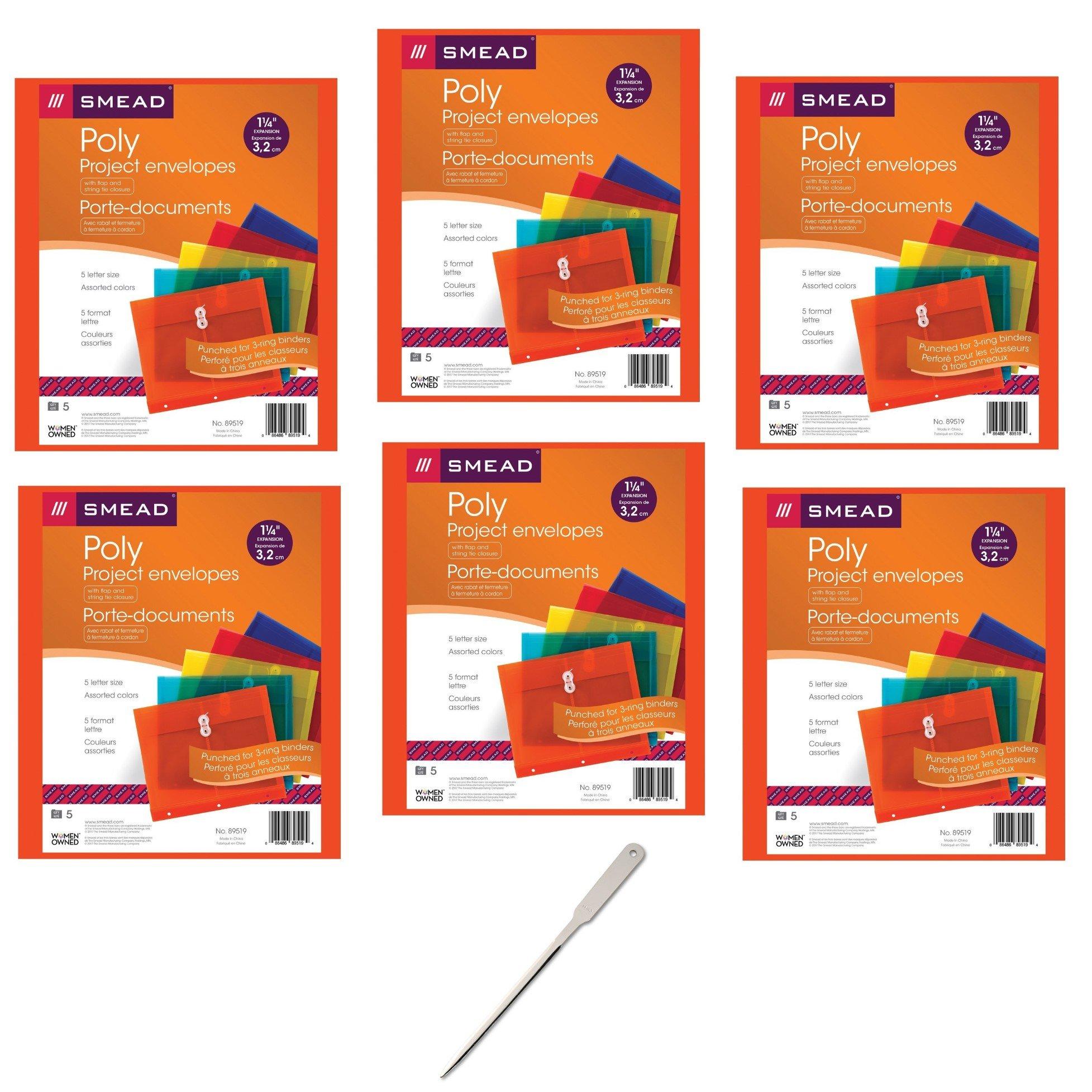 Smead Project Envelope, 1-1/4'' Expansion, String-Tie Closure, Side Load, Letter Size, 5 per Pack, 6 Pack, 30 Envelopes Total (89519) - Bundle Includes Universal Letter Opener