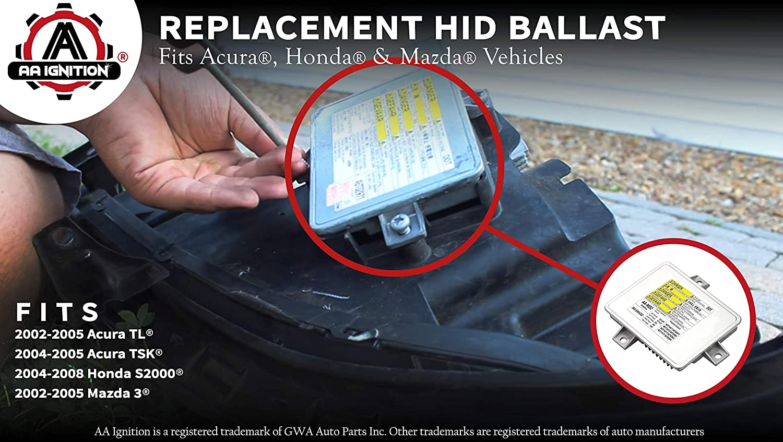 TSX Model Years 2002 HID Xenon Headlight Ballast Replaces# 33119-S0K-A10 2007,2008 W3T14371 2005 2004 33109-S0K-A02 Mazda 3 W3T10471 Honda S2000 2006 33119S0KA10 Fits Acura TL 2003