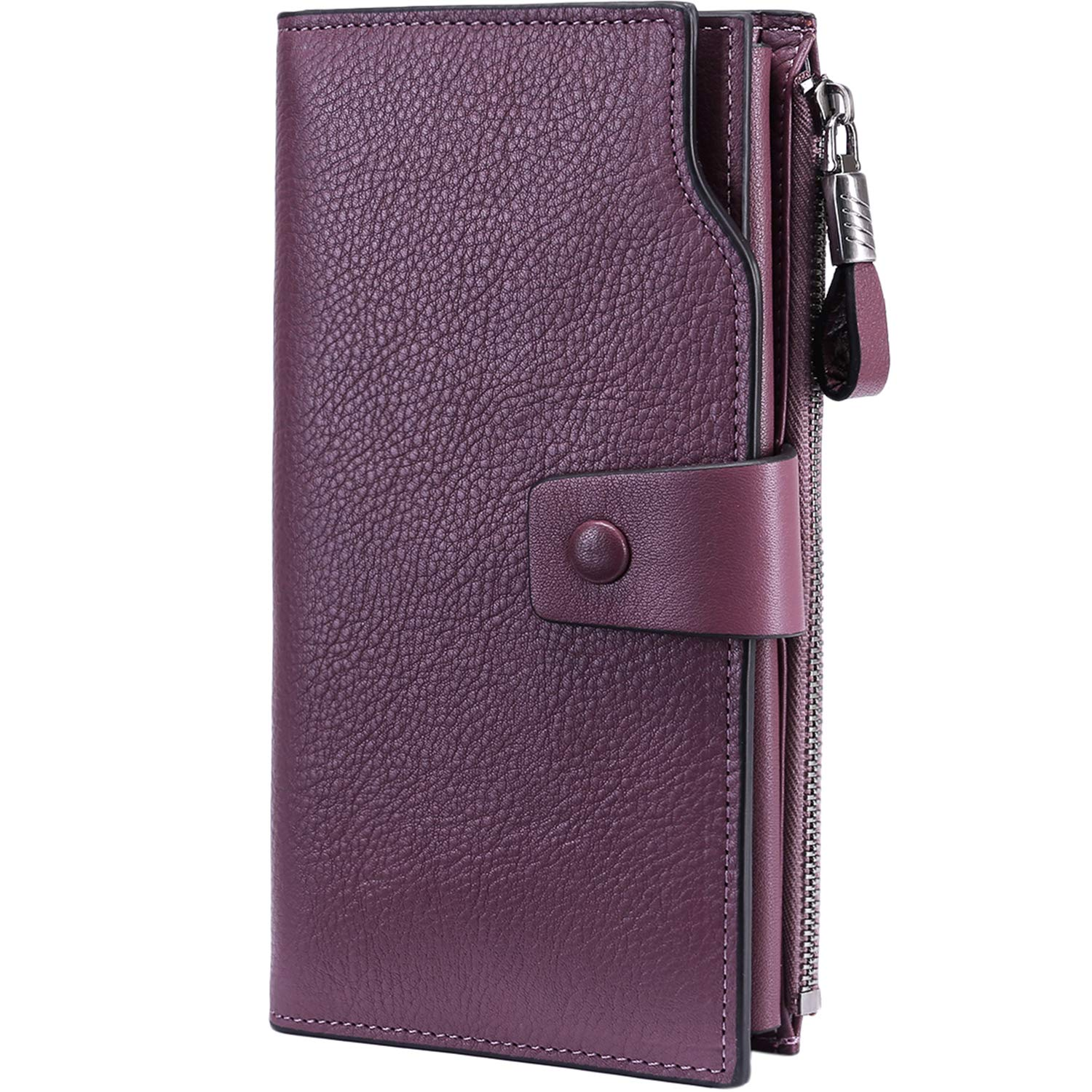 Itslife Women's RFID Blocking Large Capacity Luxury Wax Genuine Leather Cluth Wallet Card Holder Ladies Purse (Natural Purple(Lavender) RFID BLOCKING)