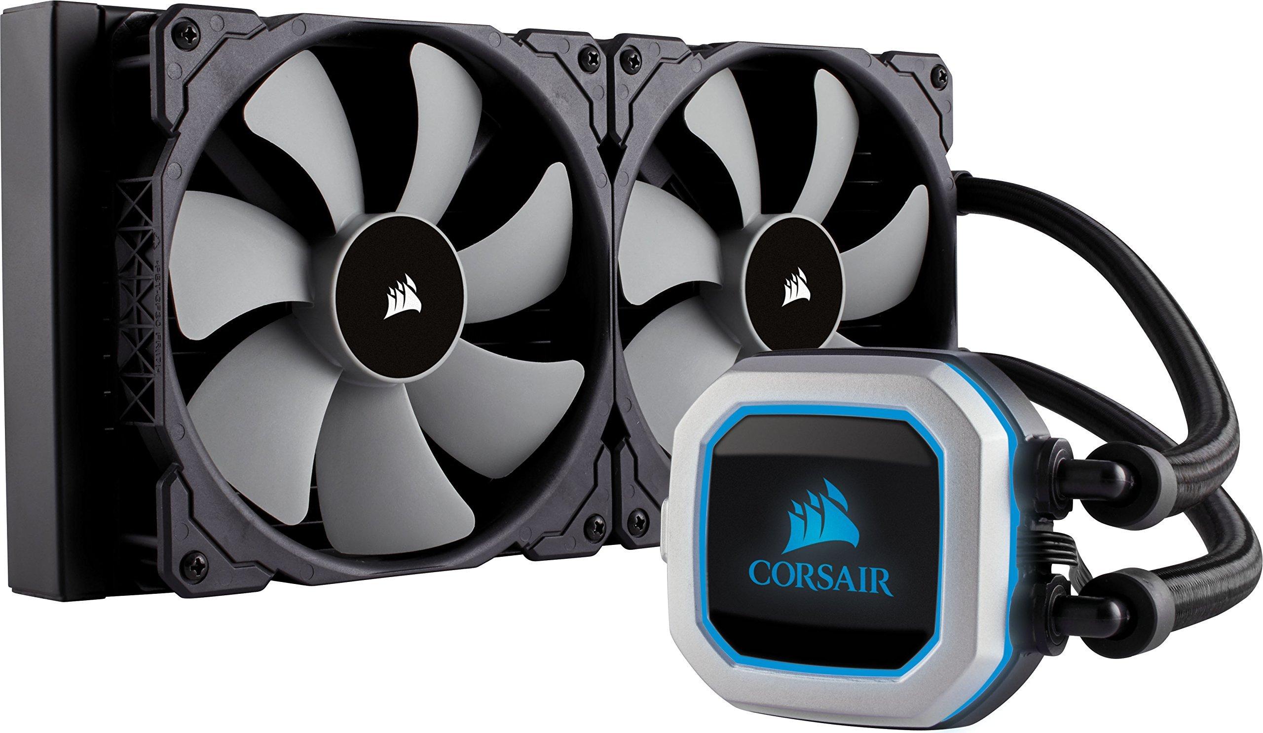Corsair Hydro Series H115i PRO RGB 280mm Radiator Dual 140mm ML Series PWM Fans Advanced RGB Lighting Liquid CPU Cooler (CW-9060032-WW) by Corsair