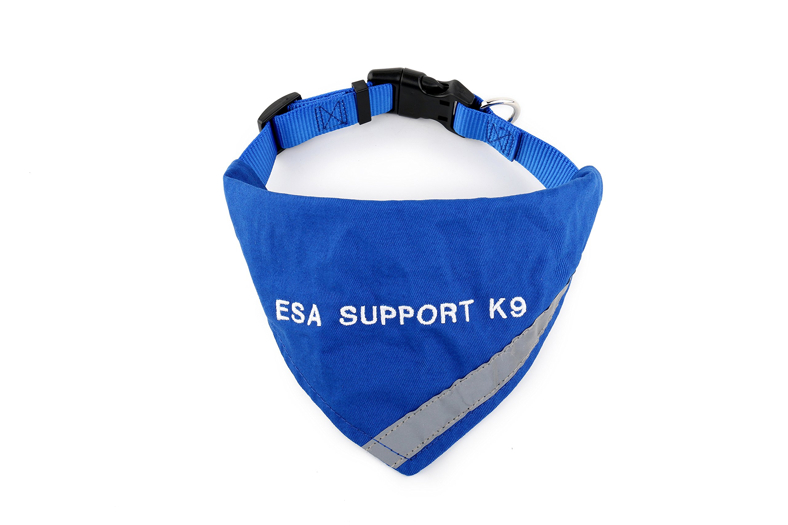 BANDANA embroidered with ''ESA SUPPORT K-9'' | Reflective Strip for pet safety | Built in matching collar to keep bandana secure | Metal ring to attach leash | Four Colors | All Sizes (X-Small to Large)