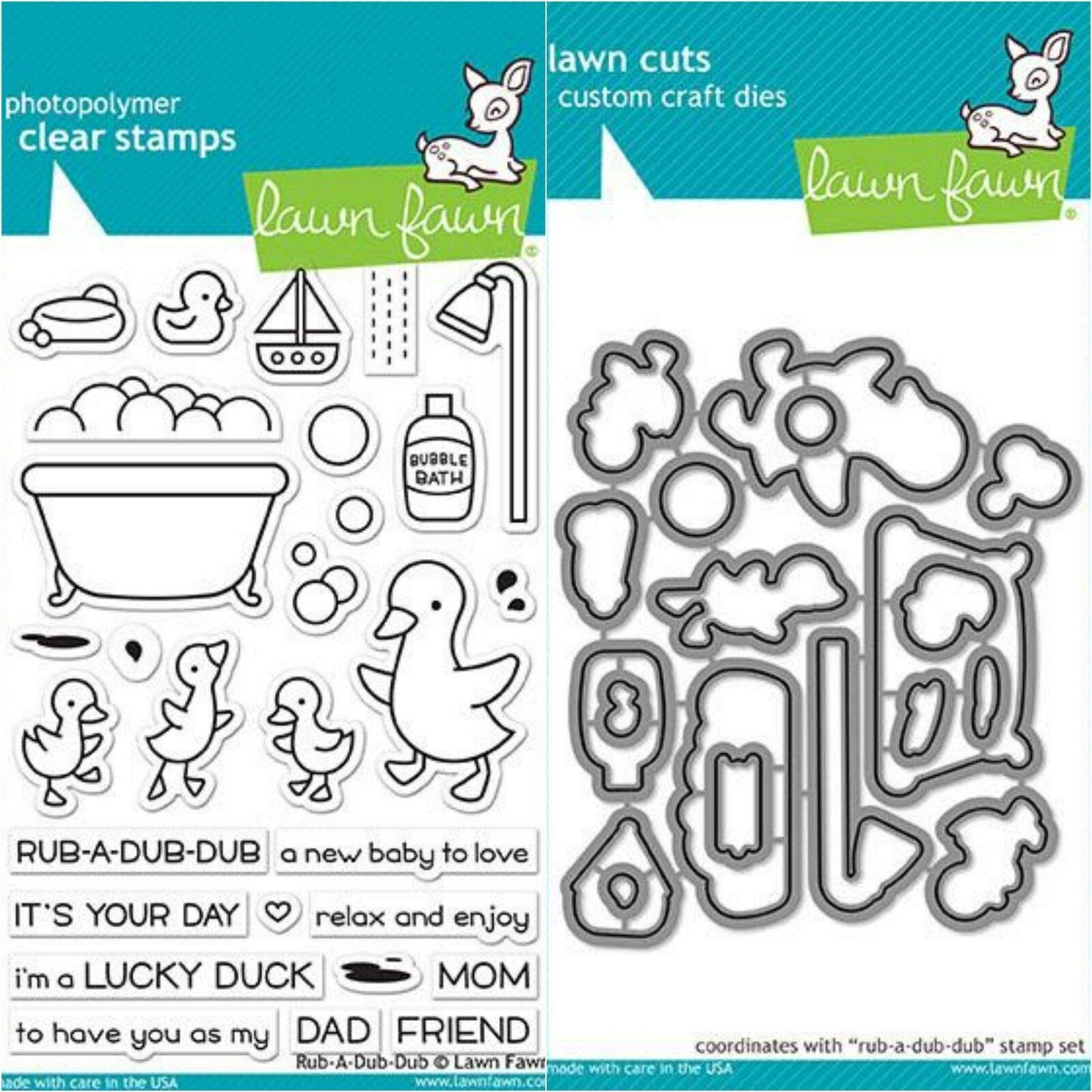 ShopForAllYou Stamping & Embossing (Stamp & Die Bundle)''RUB A Dub Dub'' Clear Stamps Only OR Stamp