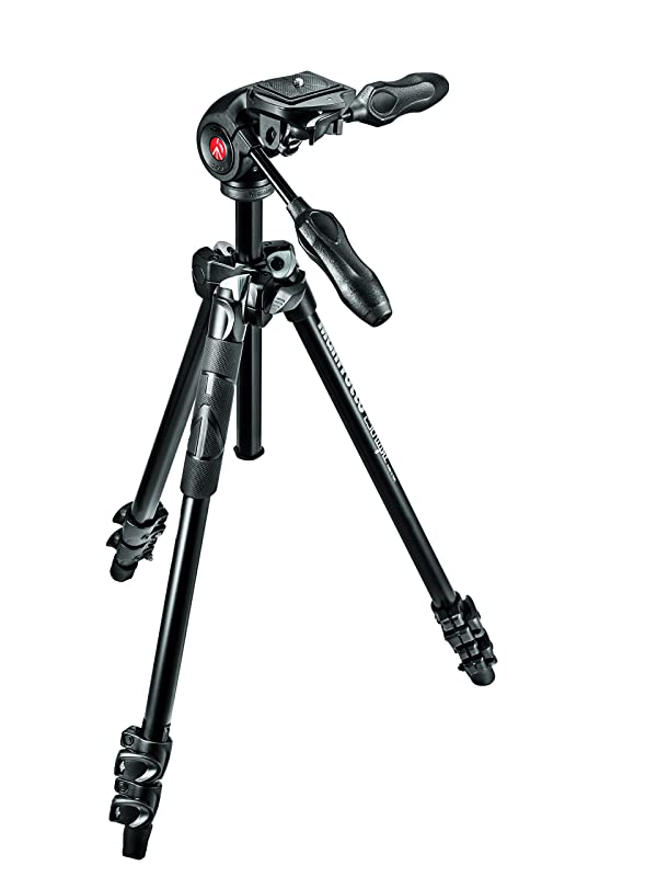 Manfrotto 290 Light Aluminum 3-Section Tripod Kit with Foldable 3-Way Head (MK290LTA3-3WUS) (Color: Black)