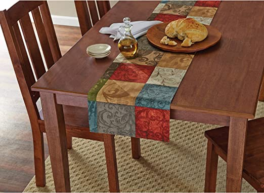 Mainstays Tuscany Kitchen Collection Fabric Table Runner  13 in X 72 in