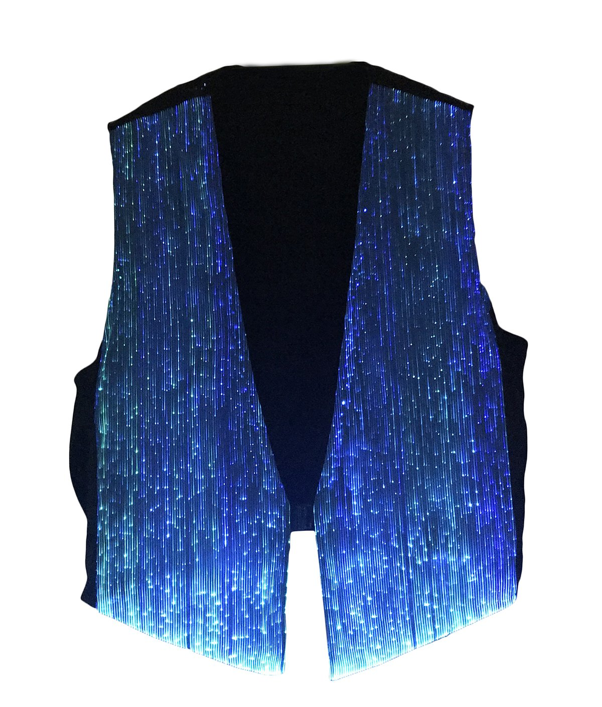 LED Fiber Optic Waistcoat Light up Vest for Men Fashion Glow in The Dark Luminous Vest (XL, Blue)
