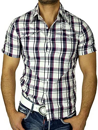 Gov Denim Hombre de Cuadros de Camisa Slim Fit Polo Manga Corta Camisa de Cuadros Lila GD 7786: Amazon.es: Ropa y accesorios