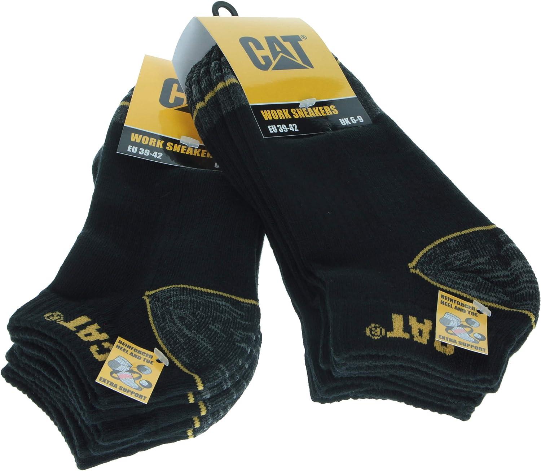 Caterpillar - 6 pares de calcetines de trabajo para hombre, cortos, a prueba de golpes, reforzados en talón y punta, hilos de excelente calidad, disponibles en gris, azul y negro