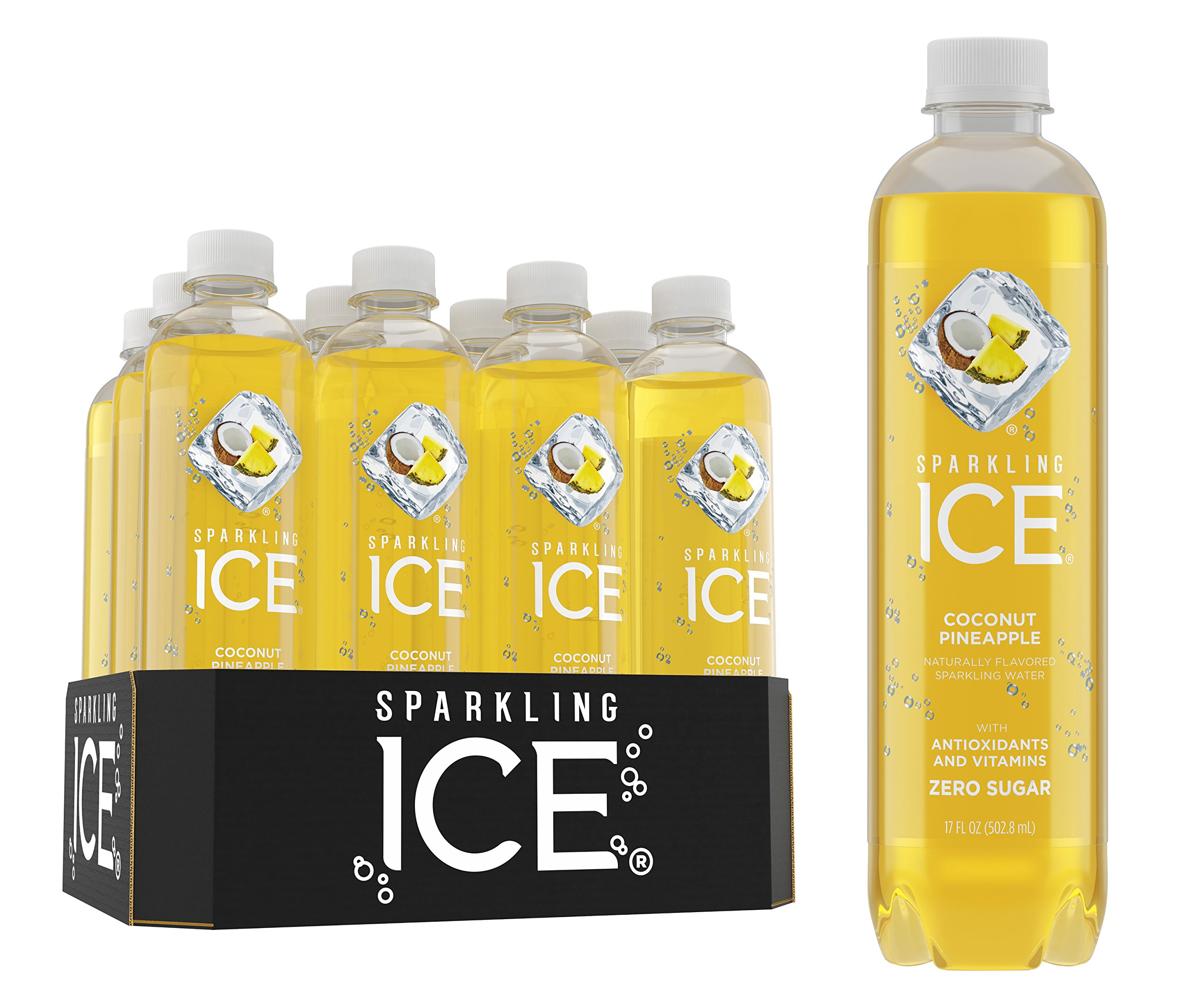Sparkling Ice Coconut Pineapple Sparkling Water, with Antioxidants and Vitamins, Zero Sugar, 17 Ounce Bottles (Pack of 12)