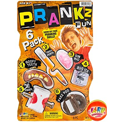 6 Different Cool Stuff Pranks Gags. Scary Prop Set. Prank Kit by JARU and 1 Exclusive Bouncy Ball | Prankz Gaging Fun Realistic Game | Item #6416-1p: Toys & Games