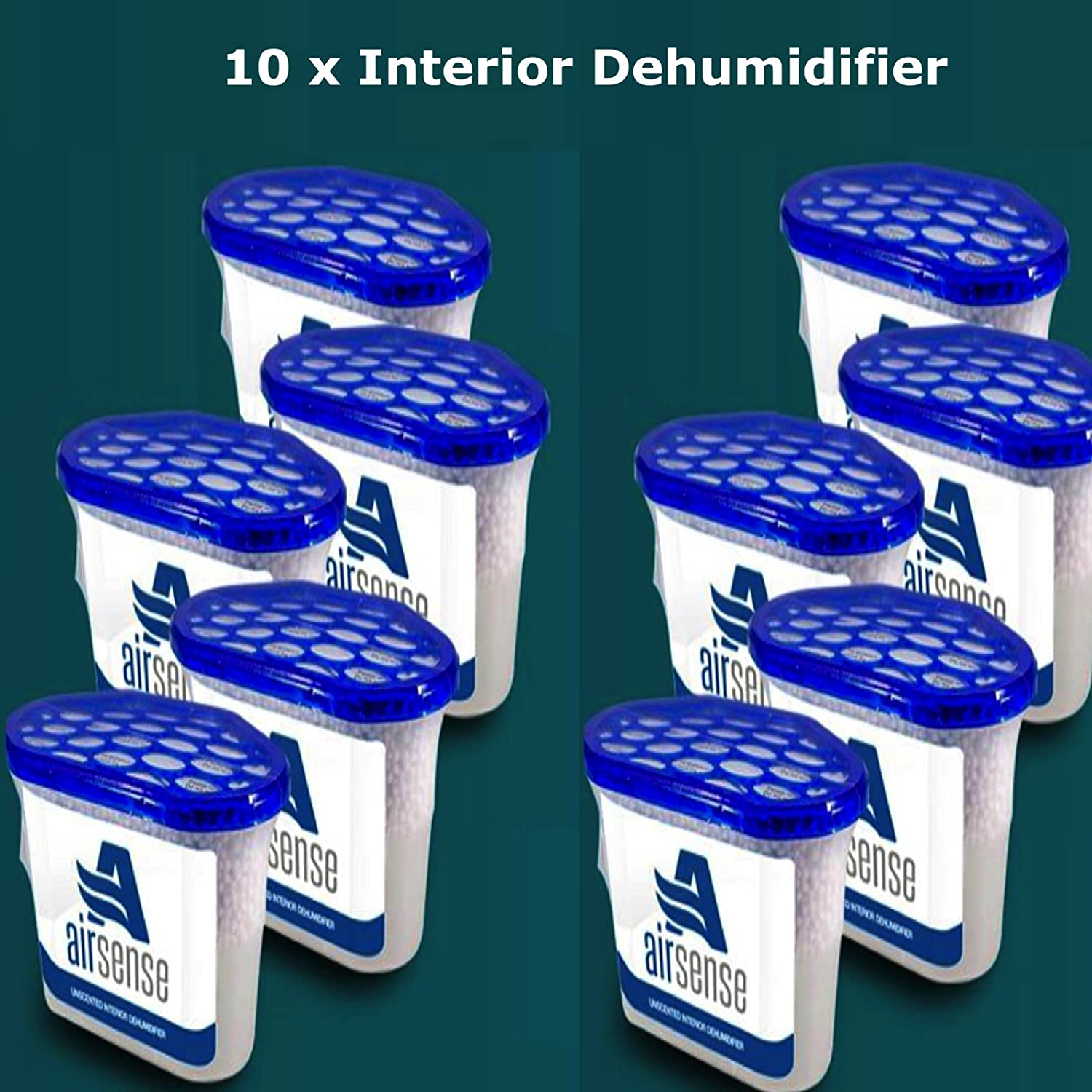 Airsense Interior Dehumidifier, 500 ml, Pack of 10 Dehumidifiers, Moisture Absorber, Damp, Mould Mildew, Condensation