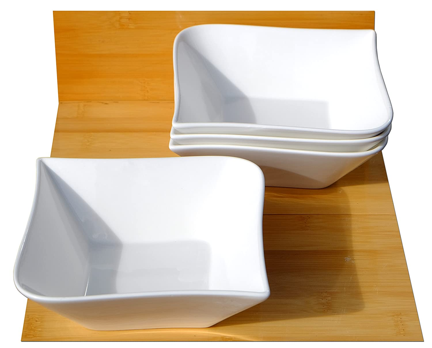 Contemporary serving bowls X 4 white L14cm x W14 x D5cm, and 20cm diagonally Gifts Of The Orient GOTO
