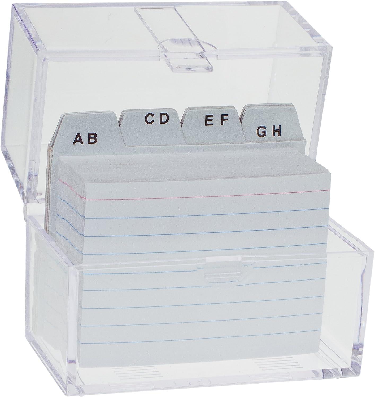 TSI Karteikasten DIN A8 gefüllt mit linierten Karteikarten
